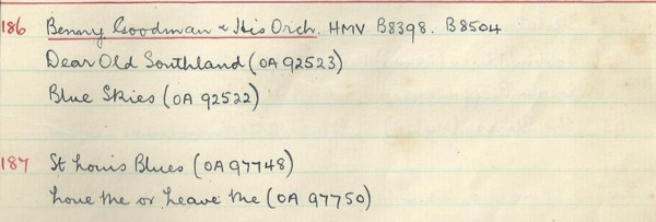 Scan of handwritten track details